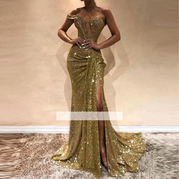 Discount gothic mermaid gown - Gothic Sexy GOld Zuhair Murad Mermaid Prom Dresses 2019 See Through Sweetheart SPlit Side High Backless Evening Pageant