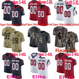 c3def1f61 custom 4 Deshaun Watson JJ Watt DeAndre Hopkins 32 Tyrann Mathieu Jadeveon  Clowney Texans Camo Elite Limited Jersey Men youth women