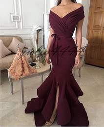 $enCountryForm.capitalKeyWord NZ - 2019 Elegant Arabic Mermaid Evening Dresses Off The Shoulder Front Split Ruched Floor Length Evening Prom Gowns Party Dress