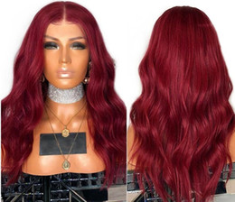 pretty brazilian human hair 2019 - Pure Dark Red Pretty Wavy Lace Front Human Hair Wigs with Baby Hair Brazilian Remy Hair Pre Plucked 13*4 Front Lace Wig