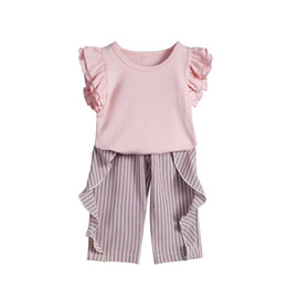 Wholesale Ruffled Girls Tee Australia - INS Stylish Little Girls Fly Ruffles Sleeve Tees Stripes Pants Suits 2pieces Blank Pink Tops Ruffled Striped Pants Set Kids Girls Clothing