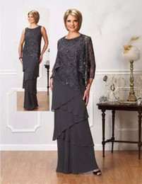 dark grey evening gowns NZ - Elegant Dark Grey Mother Of The Bride Dresses Beaded Sequins Tiers Chiffon Formal Evening Gowns With Jacket Wedding Guest Gowns Custom