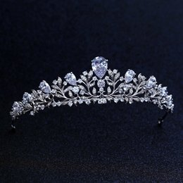 Wholesale Top Quality Wedding Bridal Bridesmaid Flower Cubic Zirconia Girls White Plated Zircon Tiara Crown Headband For Prom J190701