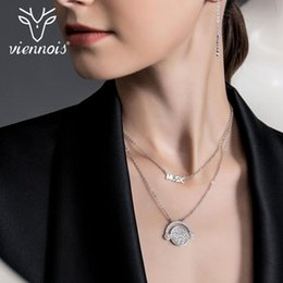 viennois necklace UK - Viennois Silver Color Rhinestone Music Crystal Necklace For women Party Jewelry 2020