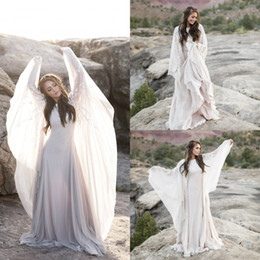 Wholesale plus bell sleeve dresses for sale - Group buy 2019 Bohemian Wedding Dresses Lace Neck Long Bell Sleeves Sweep Train Boho Beach Wedding Dress Custom Made Plus Size Country Bridal Gowns