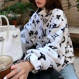 Wholesale korea men coat styles online – oversize Qiu dong coat female Korea edition loose student plush coat coral fleece body printing men and women the same style lovers coat