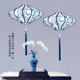 e27 housing NZ - New Chinese chandelier antique blue and white porcelain sheepskin fabric hot pot restaurant tea house tea room Chinese style