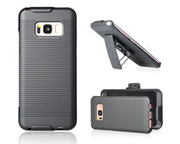 Discount holster clips - Holster Case Clip 180 Rotating Kickstand Hard PC Armor For Galaxy S8 Stripe Hip Rotatable Hybrid Clip Belt Combo Holder