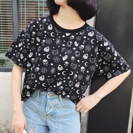 $enCountryForm.capitalKeyWord Australia - Blackest Gothic Tee Moon Witchcraft Cat Printed Harajuku Short T-shirt Women Tops Loose Summer Skull T Shirt For Goth Girl Q190425