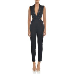 8305e809e5 Adyce Celebrity Runway Party Jumpsuits For Women 2018 Sexy Black Deep V Neck  Hollow Out Rompers Jumpsuit Sexy Bodycon Bodysuits