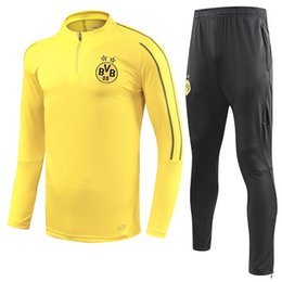 Chinese  2018 19 Borussia Dortmund tracksuit Jacket Set Men Kit long sleeve Training suit pants football Borussia Aubameyang Reus clothes sports wear manufacturers