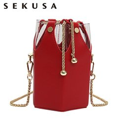 Ostrich Leather Clutch Bag Australia - SEKUSA New Vogue PU Fashion Women Bags Tassel Metal Bucket Shaped Small Day Clutches Lady Evening Bag For Party Purse