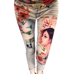 sexy 3d painting Australia - 3D Stretchy Flowers Fashion Women Colorful Painted Floral Jeans Sexy Female Streetwear Denim Pants Trousers Skinny Pencil Pants