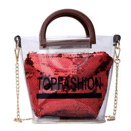 $enCountryForm.capitalKeyWord Canada - Fashion Sequins Top Handle Bag Plastic Transparent Shoulder Messenger Handbags Women Chain Small Jelly Crossbody Bags