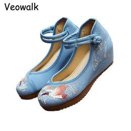 $enCountryForm.capitalKeyWord Australia - Dress Vintage Women Chinese Style Casual 5cm Wedges Crested Ibis Embroidery Medium Heels Shoes Ladies Retro Pumps Plus Size 34-41
