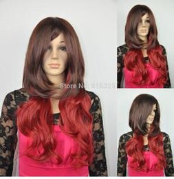 Mix Red Hair Australia - WIG FREE P&P>>new women long wavy brown red mixed cosplay party synthetic hair wig with wig