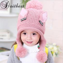 $enCountryForm.capitalKeyWord NZ - Doitbest 2-6 Y Plus velvet boy Beanies Cat ears wool solid Winter Baby Child knitted hat kids girls Earflap Caps