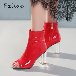 Woman Shoes Boots Australia - Pzilae 2019 fashion shoes women summer shoes clear heel boots peep toe ladies dress boots sexy high heels ankle for women