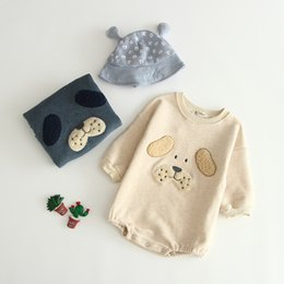 Wholesale baby kids designer clothes Autumn Winter Romper O neck Long Sleeve Velet Dog Design Warm Romper Clothes cotton girl boy rompers T