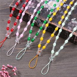 Necklaces Pendants Australia - Pure hand-woven mobile phone chain crystal lanyard hanging neck long chain female models creative fashion necklace luxury pendant rope
