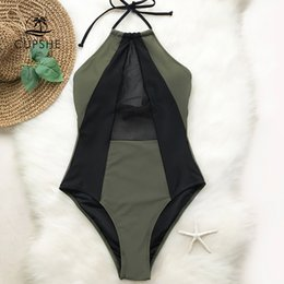Green Swimsuits Australia - Cupshe Army Green And Black Mesh Halter One-piece Swimsuit Women Patchwork Backless Monokini Girl Bathing Suit Swimwear Q190525