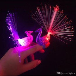 ring light fluorescent wholesale UK - LED Glow Peacock Finger Light Laser Beams Ring Optical Fiber Toy Flash Kid Fluorescent Shiny Neon Flashing Party Decoration