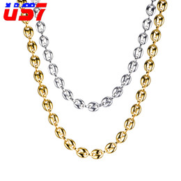 $enCountryForm.capitalKeyWord UK - US7 Coffee Beans Link Chain 11MM Necklace For Men Stainless Steel Rope Link chain Necklaces Fashion Hip hop Men Jewelry