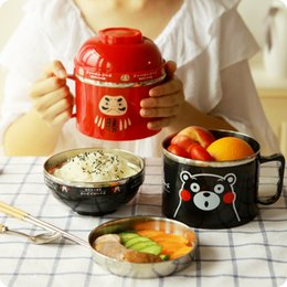 lunch box cartoons Australia - Cartoon Lunch Box Japanese Double layer Instant Noodles Bowl Stainless Steel Lunch Box Food Thermo for Kids Thermal Bento Boxes T191014
