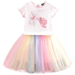 rainbow tutu wholesale Australia - New Unicorn girls suits rainbow kids outfits summer kids designer clothes girls t shirt+tutu skirt 2pcs kids sets girls clothes A7280