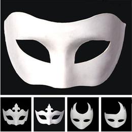 $enCountryForm.capitalKeyWord Australia - Makeup Dance White Embryo Mould Painting Handmade Mask Pulp Festival Zorro Mask Halloween white face mask T9I0078