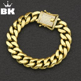 $enCountryForm.capitalKeyWord Australia - 12mm 14mm Cz Stainless Steel Curb Cuban Link Bracelet Gold Silver Plated Hiphop Micro Paved Cz Mens Miami Bangle 7inch 8inch MX190719