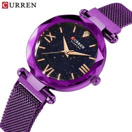 $enCountryForm.capitalKeyWord Australia - New Curren Luxury Women Watches Mesh Ladies Clock Magnet Buckle Starry Diamond Geometric Surface Casual Dress Quartz Wristwatch Y19062402