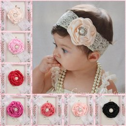 $enCountryForm.capitalKeyWord Canada - Baby Infant Flower Pearl Headbands Girl Lace Headwear Kids Baby Photography Props NewBorn Bow Hair Accessories Baby Hair bands FJ380