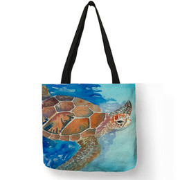 $enCountryForm.capitalKeyWord Australia - Watercolor Printing Sea Turtle Print Handbags for Women 2019 New Arrival Tote Bags Linen Reusable Shopping Bags B01092