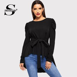 $enCountryForm.capitalKeyWord Australia - Sheinside Black Office Ladies Puff Sleeve Women Knot Front Shirt Slim Top 2018 Fall Casual Solid Womens Blouses And Pullovers