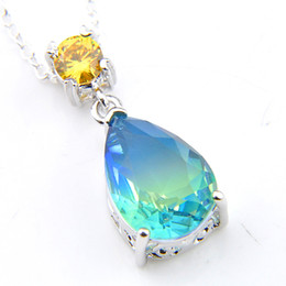 Blue tourmaline pendant online shopping - Luckyshine Brand New Women Water Drop Pendants Blue Bi colored Tourmaline Gems Silver Pendants Necklaces With Chain