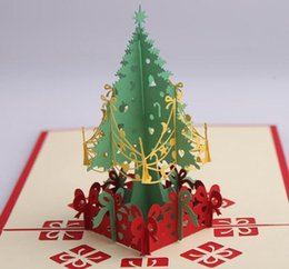 Wholesale 3D Christmas Card Gift Christmas Tree Birthday Blessing Business Card Invitation GB669