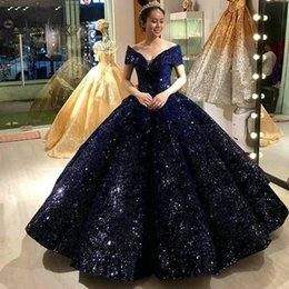 quinceanera dresses red bling Australia - Fashion Dark Navy Ball Gown Quinceanera Dresses Bling Off Shoulder Long Formal Sweet 16 Prom Dress Gala Customized Women Party Gowns