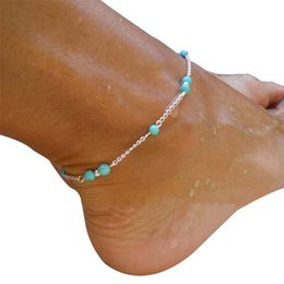 $enCountryForm.capitalKeyWord NZ - Unique Barefoot Anklet Sexy Beads Silver Chain Anklet Sandals Ankle Bracelet Foot Jewelry Female Summer Beach