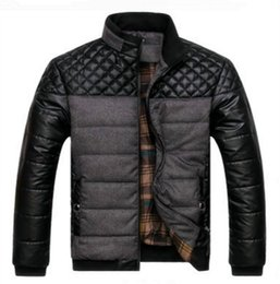 NyloN pu coatiNg online shopping - Dropshipping winter spring thick Men s Jackets and Coats PU Patchwork Designer Fashion Mens Jackets Cotton Outerwear