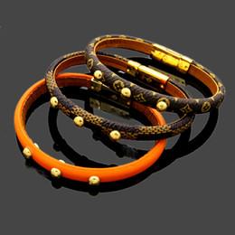 Fashion Bracelets Flower Design Australia - New fashion genuine leather bracelets with three gold round nail design for women top quality luxury flower pattern bracelet fashion jewelry