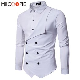 Fake Branded Shirts Australia - Men Shirt Brand Personality Double-breasted Fake Two Shirt Formal Solid Color Slim Fit Cotton Long Sleeve Dress Shirts Camisa #495628