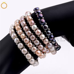 Wholesale Freshwater Pearl Bracelet Women Girls Jewelry Stretch Elastic Bracelet Single Strand Genuine Natural Pearls 5 Pieces