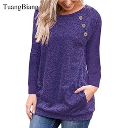 Lady T Shirts Full Australia - female Patchwork Button O-Neck Full Sleeve Women Autumn Loose Tops Tee Cotton Casual Lady Autumn Ladies Winter Long T-shirt 2018