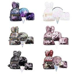 $enCountryForm.capitalKeyWord Australia - 3pcs Set Women Rabbit Ears Sequins Mini Backpack Sequins Bags for Girls Teenage Shoulder School Backpack Fashion Day Clutch New