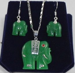 Discount purple elephant necklace - Wholesale price 16new ^^^^2 color-fancy green purple stone elephant earring pendant set