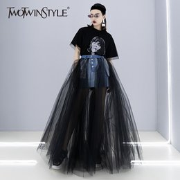 sexy tutus for women Australia - Twotwinsyle Denim Patchwork Mesh Skirt For Women High Waist Bodycon Sexy Long Tutu Skirts 2018 Female Summer Fashion New Clothes MX190730