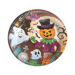 Halloween Party Plates Australia - 10pcs set Disposable Plates Tableware RFID Blocking Cartoon Halloween Pumpkin Witch Paper Table Decoration Dishes Party