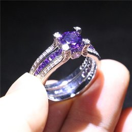 Amethyst fAshion jewelry online shopping - Luxury Sterling Silver Filled Band Fashion Amethyst CZ Jewelry Wedding Engagement Ring Set Gift For Women Party Size