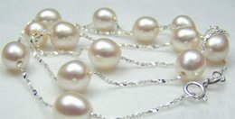 $enCountryForm.capitalKeyWord Australia - necklace Free shipping +++ Hot sale 925 Sterling Silver Real 9--10 mm White Pearl Necklace